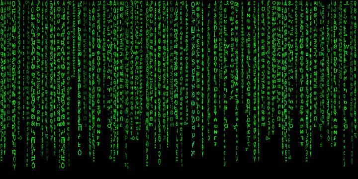 Matrix green on black background.Computer virus and hacker screen wallpaper
