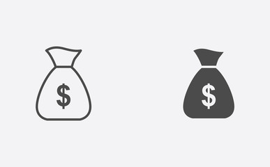 Money bag outline and filled vector icon sign symbol