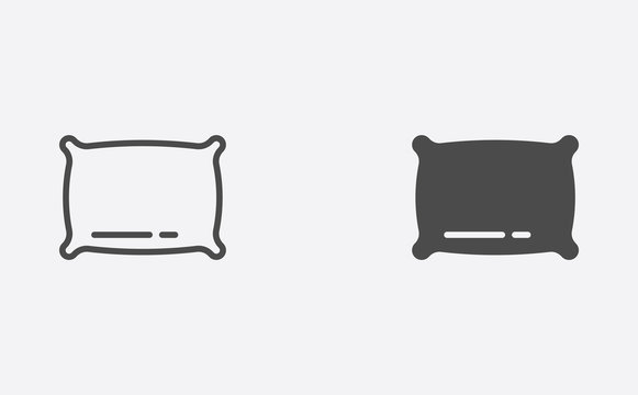 Pillow outline and filled vector icon sign symbol