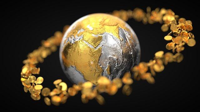 gold coins around metallic earth globe. 3d illustration