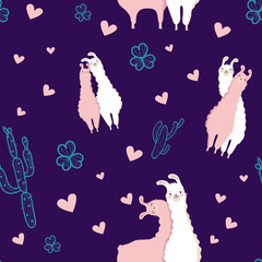 Modern Pattern Picture, Cartoon Creative Collage with Llama, cactus, flower, heart in white, pink and purple color. Vector illustration.