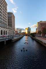 Providence, Rhode Island, United States - October 25, 2018: Scenic view of a beautiful modern downtown city during a vibrant sunset.