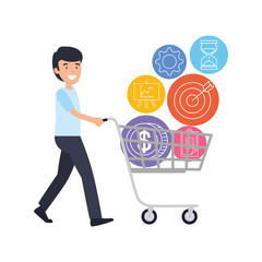 businessman with shopping cart and business icons