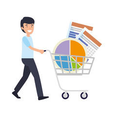 businessman with shopping cart and statistics graphics