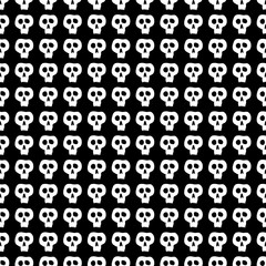 Skulls seamless pattern. Happy Halloween pattern. Black and white vector illustration.