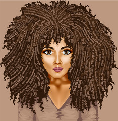 vector image of a dark-skinned girl with lush hair