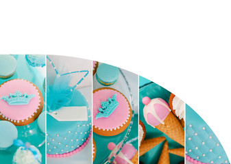 Blue summer time theme for party or birthday. Collage of five pictures of sweets, cupcakes, pop cakes