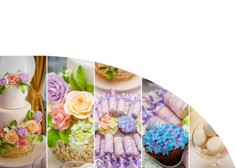 Flower summer time theme for party or birthday. Collage of five pictures of sweets, cupcakes, pop cakes