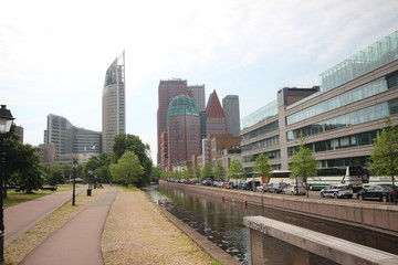 Skyline of the city of the Hague with the ministries in the city center