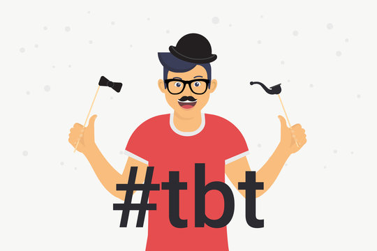 Hashtag tbt concept flat vector illustration of happy guy with photo booth elements such as mustache, glasses and black hat