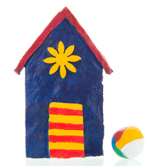 Colorful hand made beach cabin