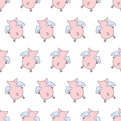 Vector seamless pattern of cartoon pigs angels flying on white background.