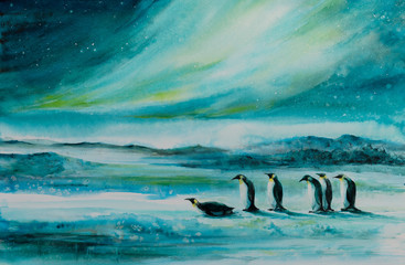 Penguins in ice desert landscape. In background aurora borealis. Picture created with watercolors.