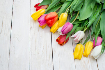 bouquet of tulips on rustic wooden board, womens day, valentines day