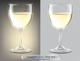 Transparent vector wineglass with white wine. For dark background
