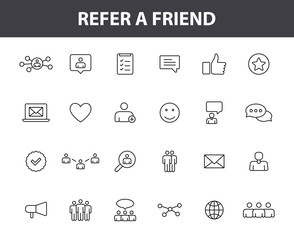 Set of 24 Refer a friend web icons in line style. Referral program, marketing, invite friends. Vector illustration.