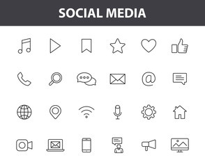 Set of 24 Social Media web icons in line style. Contact, digital, social networks, technology, website. Vector illustration.