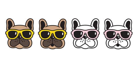 dog vector french bulldog sunglasses icon cartoon character puppy logo illustration brown