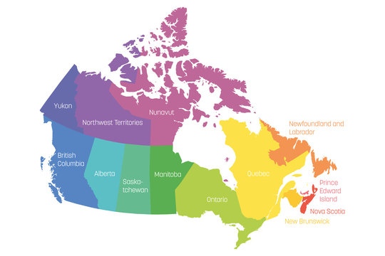 Map of Canada divided into 10 provinces and 3 territories. Administrative regions of Canada. Multicolored map with labels. Vector illustration