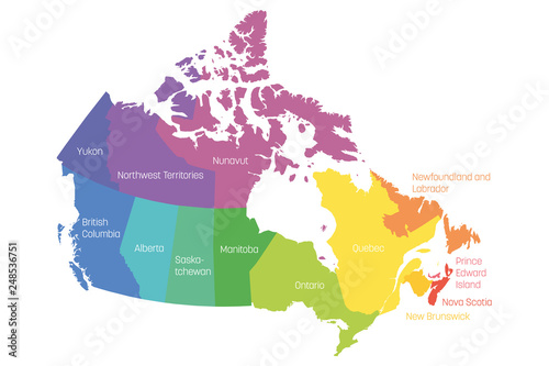 Map Of Canada With Territories.Map Of Canada Divided Into 10 Provinces And 3 Territories