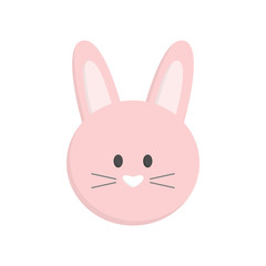 Cute Easter bunny head, isolated. Pink easter bunny face vector graphic illustration icon.