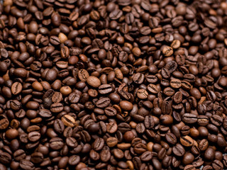 Coffee Background. roasted coffee beans, top view