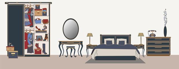 Vector main bedroom interior. Flat design stylization.
