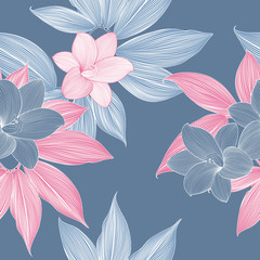 Seamless pattern with abstract tropical exotic leaves and flower lily.
