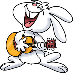 Cartoon bunny playing guitar and singing songs vector illustration