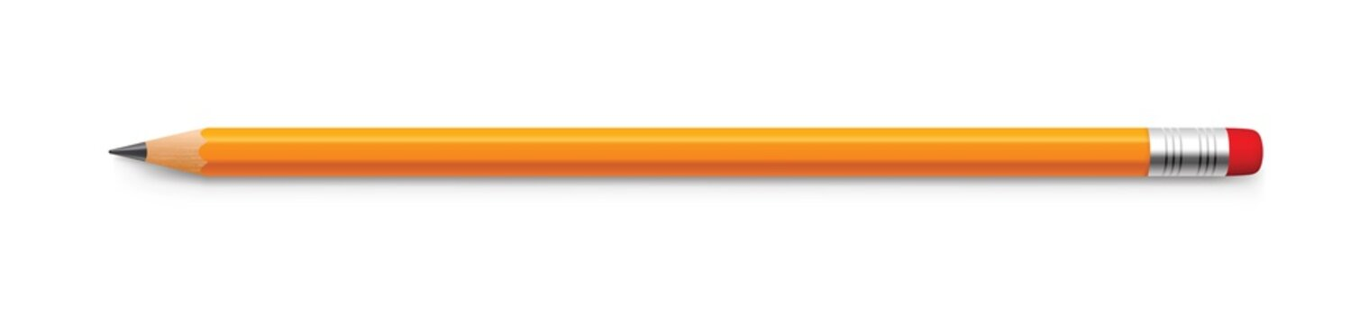 Realistic yellow pencil sharpened with a red rubber band - stock vector.