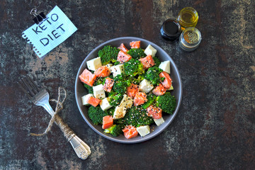 Healthy Salad with Salmon, Broccoli and White Cheese. Keto diet. Poke bowl