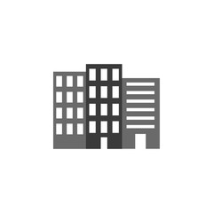 Building vector icon. Building illustration black an white vector icon isolated on white background - Vector. Building icon