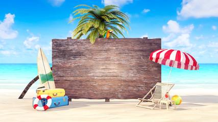 Hello Summer holiday background 3D Render 3D illustration