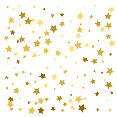 Golden stars confetti. Abstract background with many falling gold stars confetti. vector background