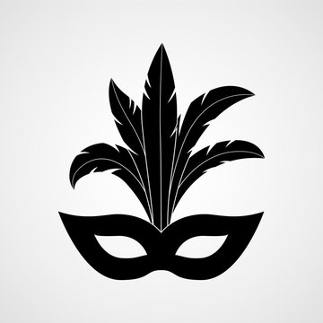 Carnival mask with feathers black silhouette. Vector icon