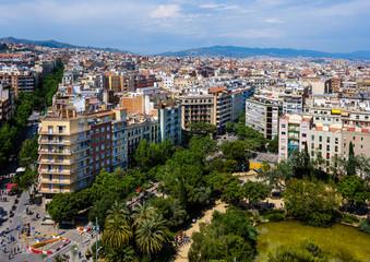BARCELONA, SPAIN - CIRCA MAY 2018: View of Barcelona from la Sagrada Familia.
