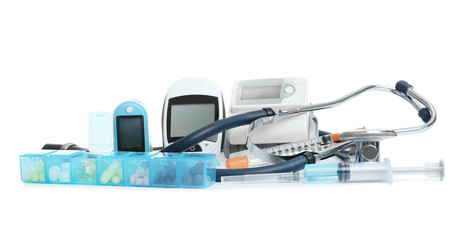 Different medical objects on white background. Health care