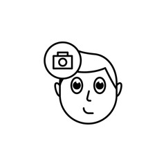 human face character mind in camera icon