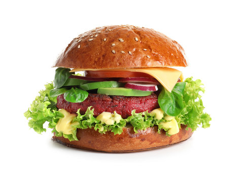 Tasty vegetarian burger with beet cutlet on white background
