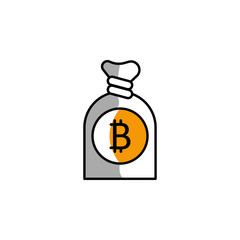 bitcoin, bag, money, block chain icon. Element of color finance. Premium quality graphic design icon. Signs and symbols collection icon for websites