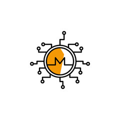 monero, cryptocurrency, money, finance icon. Element of color finance. Premium quality graphic design icon. Signs and symbols collection icon for websites