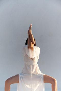 Asian Yogini On White Background