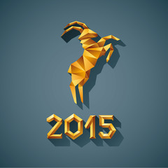 Canvas Prints Geometric animals Polygonal golden ram sheep symbol of year illustration