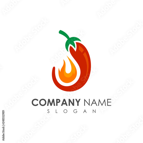 Chili With Fire Logo Design Template Hot Food Logo Spicy