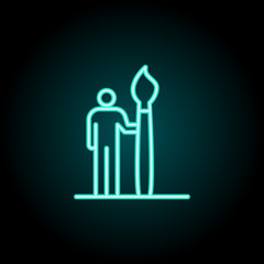 artist icon. Elements of conceptual figures in neon style icons. Simple icon for websites, web design, mobile app, info graphics