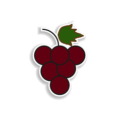 grapes colored sticker icon. Elements of fruit in color icons. Simple icon for websites, web design, mobile app, info graphics