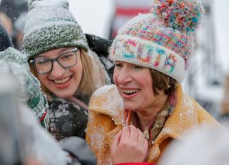 U.S. Senator Amy Klobuchar greets supporter in Minneapolis