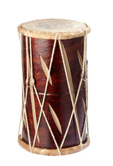 handmade wooden drum from india isolated on white