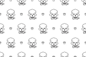 Vector cartoon character poodle dog seamless pattern for design.