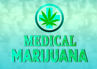 Medical Marijuana design concept with text, hemp plant and cross